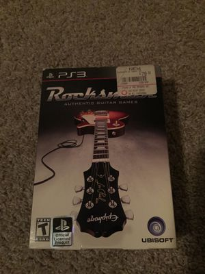 PS3 Rocksmith guitar game plus guitar cable for Sale in Austin, TX