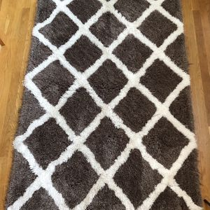 High Pile Shag Brown White Rug 3 1/2 x 5 1/2 for Sale in Moseley, VA