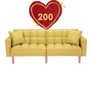 Brand new!W75Inch!Sofabed!loveseat!sofa!FUTON SOFA BED SLEEPER YELLOW LINEN FABRIC for Sale in Hacienda Heights, CA