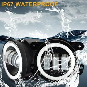 4 inch Round Led Fog Lights Offroad Lamps Front Bumper Lights White Halo Ring DRL for Jeep Wrangler JK JKU TJ LJ Rubicon Subaru Impreza Willys Grand for Sale in Ontario, CA