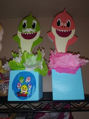 All 5 baby shark Center pieces for $25 for Sale in Fullerton, CA