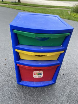 3 Drawer Plastic kids red blue yellow storage bin for Sale in Roselle, IL