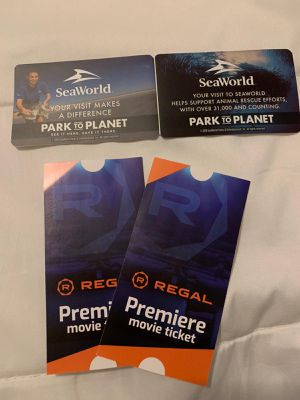Great deal 2 Sea Word tickets at $ 90 + 2 free movie tickets for Sale in Oviedo, FL