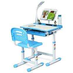 Adjustable Kids Desk Chair Set in Blue with Lamp and Bookstand for Sale in Henderson,  NV