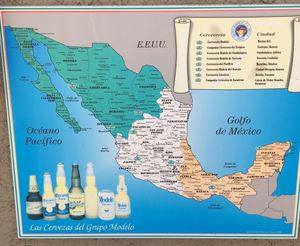 Mexican beer sign with map for Sale in La Mirada, CA