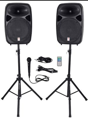 "Rockville RPG152K Dual 15"" Powered, Bluetooth+Mic+Speaker Stands+Cables for Sale in Tacoma, WA"