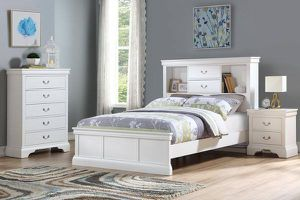 NEW WHITE FULL SIZE BOOKCASE BED PHILLIPE STYLE BEDROOM SET CHEST NIGHT STAND for Sale in Costa Mesa, CA