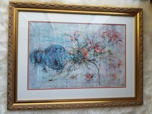 Edna Hibel Celestial Bouquet Print Framed and Numbered for Sale in Palos Hills, IL