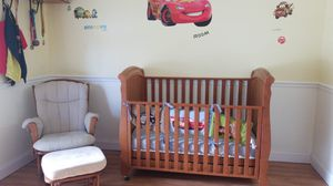 Crib with mattress and dresser, rocking chair and Armoire for Sale in Fort Lauderdale, FL