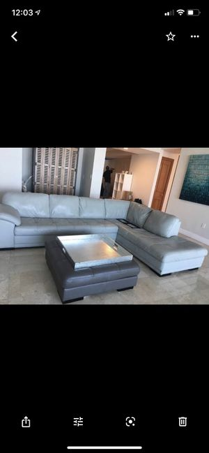 Real leather couch for Sale in Davie, FL