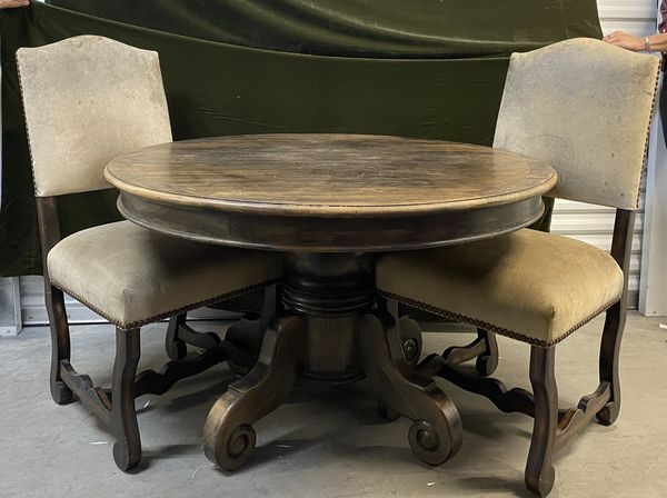 Heavy Solid Wood Round Table With 2 Chairs