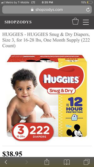 Any size two boxes of huggie pampers for $45 for Sale in Austin, TX
