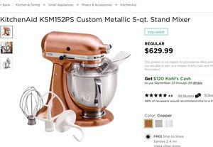 KitchenAid KSM152PS Custom Metallic 5-qt. Stand Mixer. Brand new in box never used gray for Sale in Santee, CA