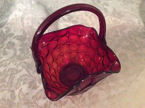Lovely Cranberry Red Glass Basket for Sale in Bauxite, AR