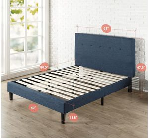 NEW! Queen Size Navy Blue Upholstered Platform Bed Frame NEW IN BOX 😊 $120 for Sale in Dayton, OH