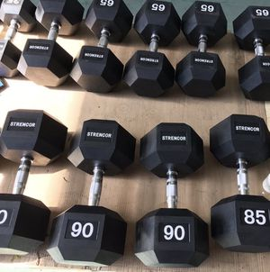 New Commercial Rubber Hex Dumbbells Only 75¢ Per Pound for Sale in Queens, NY