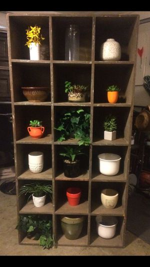 Rustic Shelf with Artificial plans and pots included for Sale in La Habra, CA