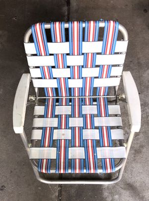 Vintage Metal Camping, Cabin, RV, Beach Folding Chair (Red, White, & Blue) for Sale in Wixom, MI