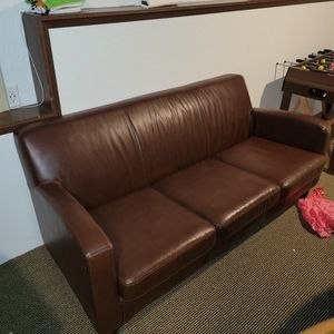 Brown Faux Leather Couch for Sale in Renton, WA