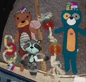 "$52 NWT - 5pc PETCO Dog Toy Lot 19"" ROPE MASSAGES GUMS brush teeth REMOVES PLAQUE - 18"" Raccoon & Squirrel , 8"" ROPE RACCOON for Sale in Manchester, NH"