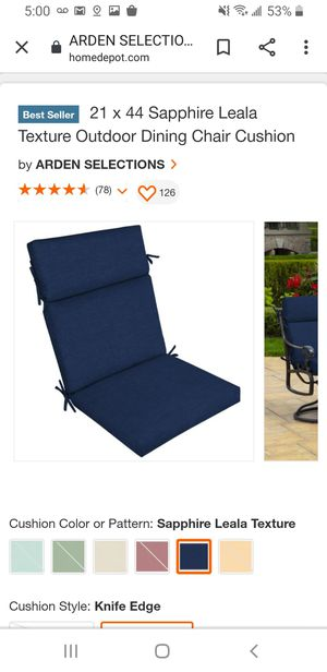 21 x 44 Sapphire Leala Texture Outdoor Dining Chair Cushion Outdoor for Sale in Mesa, AZ