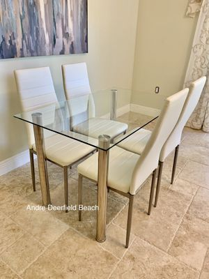 White Dining Table Set with Tempered Glass Top Table & 4 Chairs - Kitchen Furniture Set for Sale in Deerfield Beach, FL