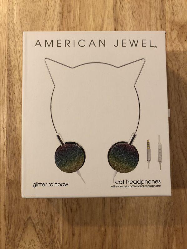 American Jewel Glitter Rainbow Cat Earphones