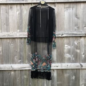 Sheer Embroidered Black Cover-Up szSmall for Sale in Muncie, IN