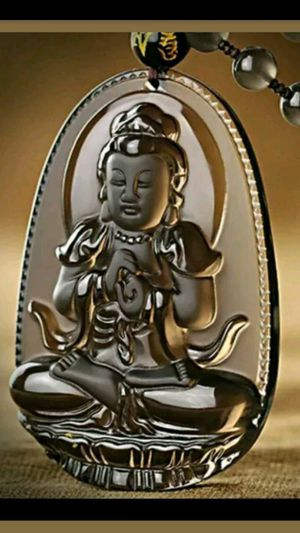 Natural Genuine Ice Clear Obsidian Carved Buddha GuanYin Lucky Pendant Necklace for Sale in Richmond, CA