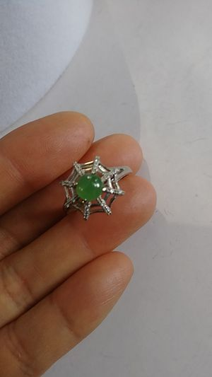 (10)Adjustable size Silver 925 Genuine green jade icy Burma jade jadeist ring for Sale in Richmond, CA