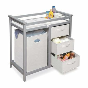 Modern Baby Changing Table with Laundry Hamper, 3 Storage Baskets, and Pad for Sale in North Las Vegas, NV