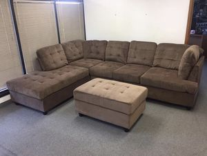 Brown Chenille Corner Sectional Couch for Sale in Auburn, WA