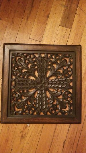 "13.5"" x 13.5"" Handcarved Wooden Wall Decor for Sale in Denver, CO"
