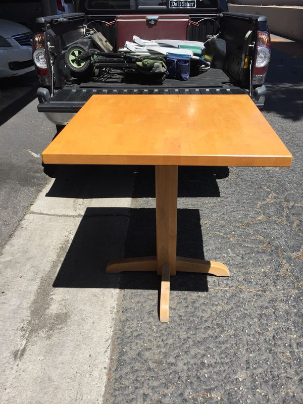 Butcher block pedestal dining table / restaurant or bar style