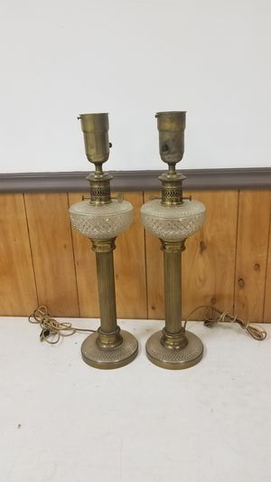 Brass glass antique lamps for Sale in St. Louis, MO