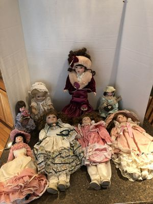 Lot of 8 Dolls (6 are Porcelain) Price is For All for Sale in Manassas, VA