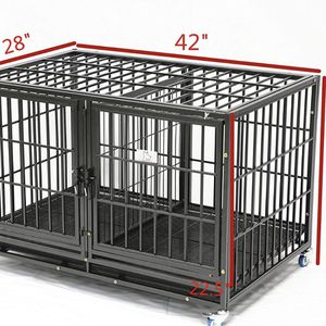 Dog Pet Cage Kennel Size 43 Upper Tube Thick Bar Heavy Duty With Divider And Metal Floor Trays And Wheels for Sale in Montclair, CA