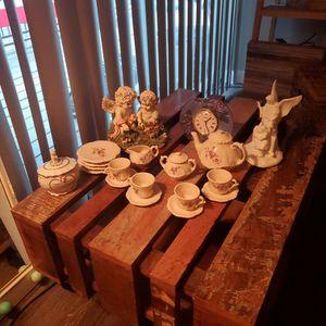 China Tea Set W/ Ceramic Figures (Precious Moments Music Jar) for Sale in Austin, TX