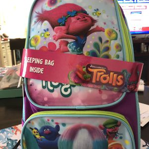Trolls camping set with sleeping bag for Sale in Stuart, FL