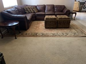 Sectional leather couch, 2 storage ottomans, 2 end tables for Sale in Phoenix, AZ