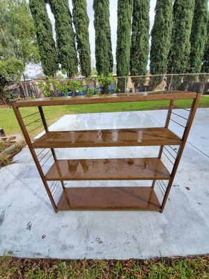 Two faux wood grain metal shelves for Sale in San Fernando, CA