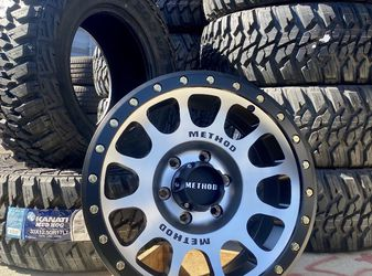"METHOD WHEELS & TIRES PACKAGE • ( 4 ) 17"" Method NV 305 Rims (Machine face or the Matte black color ) • (4) Kanati MT Tires Size 33x12.50R17 for Sale in La Habra,  CA"