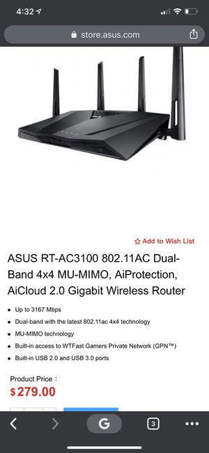 Wireless Gaming Router (Asus RT-3100) for Sale in Scottsdale, AZ