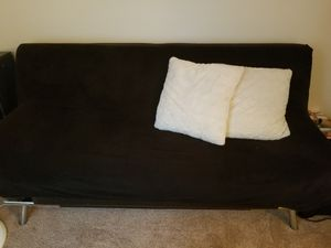 Brown futon with black cover+ pillows for Sale in Wilsonville, OR