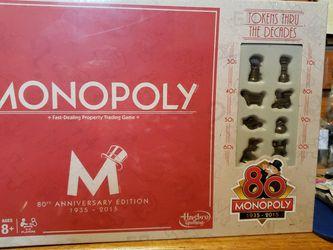 80th Anniversary Edition 1935 - 2015 Monopoly for Sale in San Bernardino,  CA