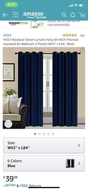 Blue Velvet Blackout Curtains for Sale in San Jose, CA