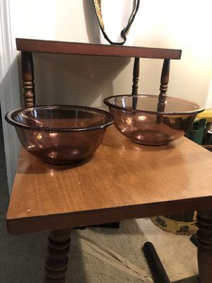 2 Vintage Cranberry Pyrex #322 1qt and #323 1.5 Qt Nesting/Mixing Bowls for Sale in Columbus, GA
