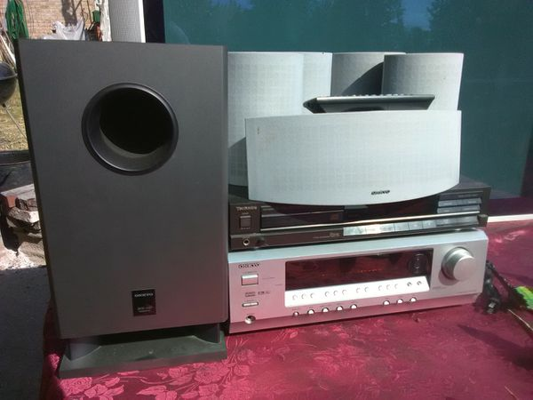 625 Watts Onkyo surround sound receiver with remote control and Technics CD player plus speakers and subwoofer