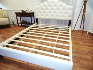 White queen bed frame plush headboard scallop for Sale in Baltimore, MD