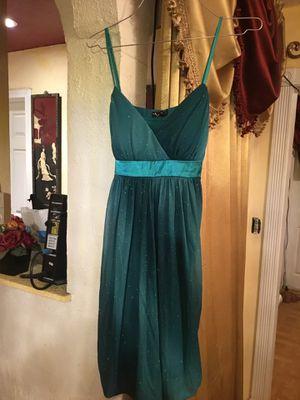 Beautiful prom dress size L brand Ruby Rox color Aqua metallic for Sale in San Diego, CA